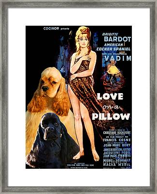 American Cocker Spaniel  Art - Love On A Pillow Movie Poster Framed Print by Sandra Sij