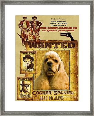 American Cocker Spaniel Art Canvas Print - Butch Cassidy And The Sundance Kid Movie Poster Framed Print by Sandra Sij