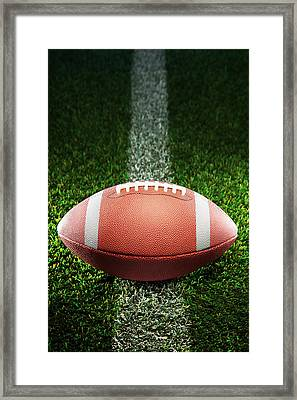 American College Football On Grass Framed Print by Skodonnell