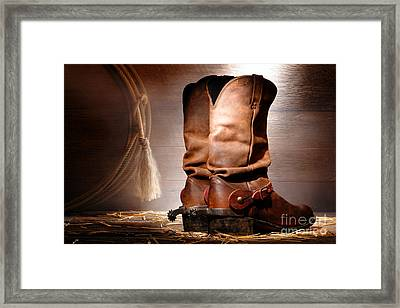 American Cowboy Boots Framed Print by Olivier Le Queinec