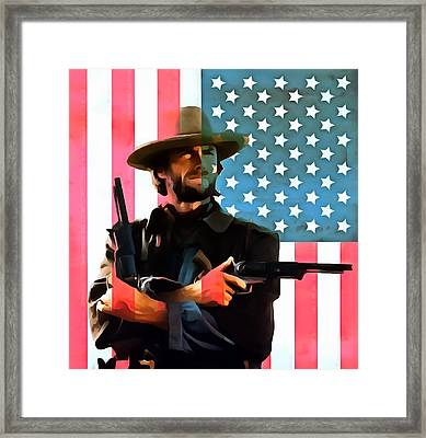 American Cowboy Clint Eastwood Framed Print by Dan Sproul