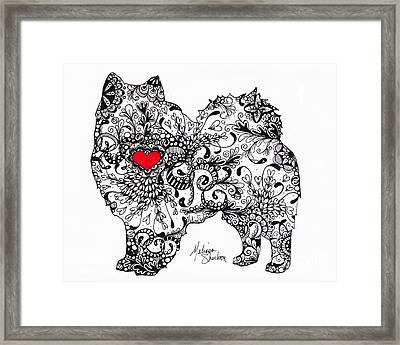 Framed Print featuring the drawing American Eskimo by Melissa Sherbon