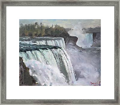 American Falls Niagara Framed Print by Ylli Haruni
