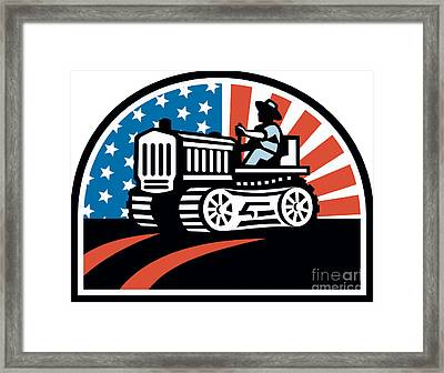 American Farmer Riding Vintage Tractor Framed Print