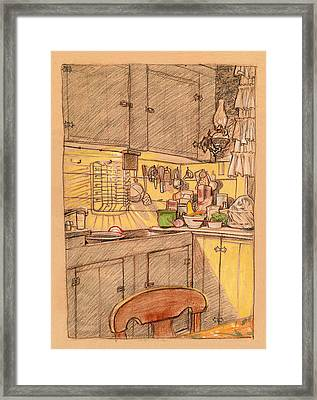 American Farmhouse Kitchen Framed Print by Mary Wilshire