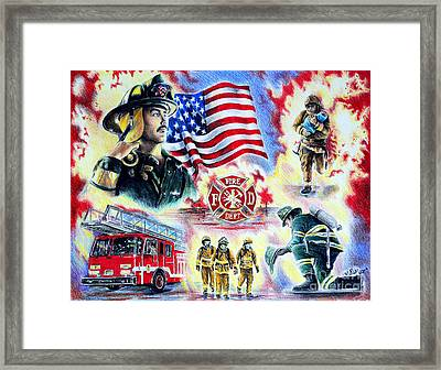 American Firefighters Framed Print