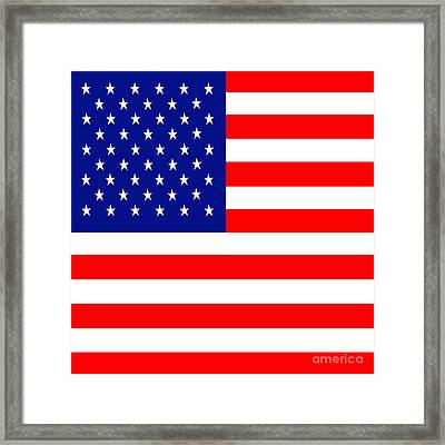 American Flag . Square Framed Print by Wingsdomain Art and Photography