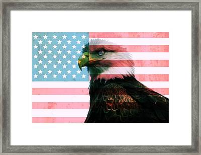 American Flag And Bald Eagle Framed Print by Dan Sproul