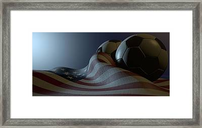 American Flag And Soccer Ball Framed Print by Allan Swart