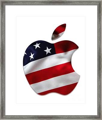 American Flag Apple Framed Print by Marvin Blaine