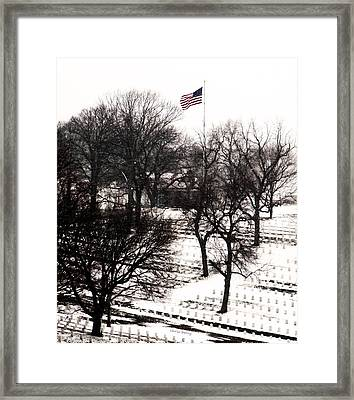 American Flag At Leavenworth National Cemetery  Framed Print by Chris Berry