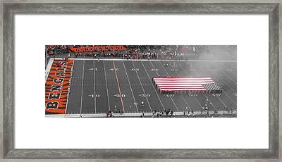 American Flag At Paul Brown Stadium Framed Print by Dan Sproul
