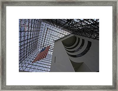 American Flag At The Jfk Library Framed Print by Juergen Roth