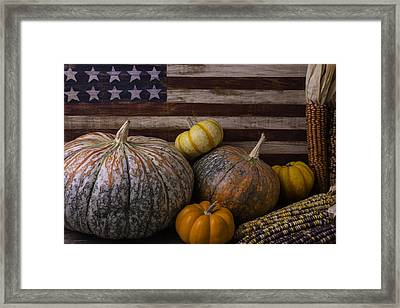 American Flag Autumn Still Life Framed Print