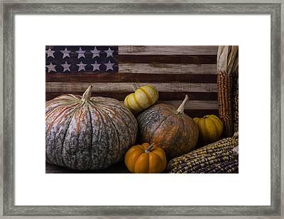 American Flag Autumn Still Life Framed Print by Garry Gay