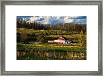 American Flag Barn Framed Print by Amy Cicconi