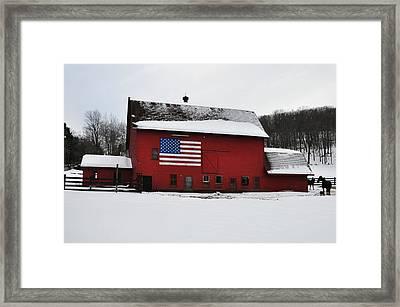 American Flag Barn In Winter Framed Print