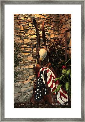 Framed Print featuring the photograph American Flag And Eagle Wood Carving by Marjorie Imbeau