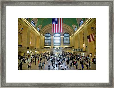American Flag From An Elevated View Framed Print