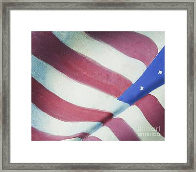 American Flag Grungy Vintage Oil Painting Framed Print by Christina Rahm