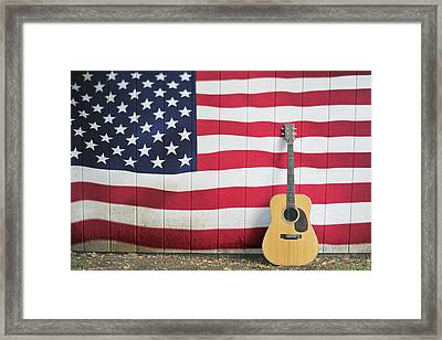 American Flag Guitar Framed Print by Terry DeLuco