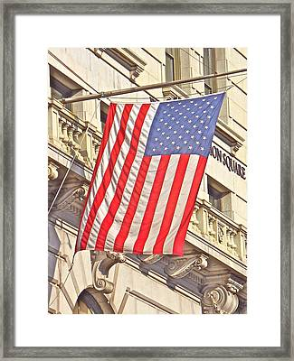 American Flag N.y.c 1 Framed Print by Joan Reese