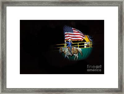 American Flag On Display Framed Print by Robert Bales