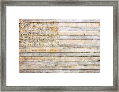 American Flag On Distressed Wood Beams White Yellow Gray And Brown Flag Framed Print by Design Turnpike