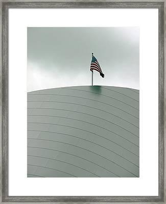 American Flag On Modern Museum In La Framed Print