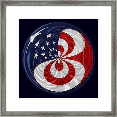 American Flag Orb Framed Print by Paulette Thomas