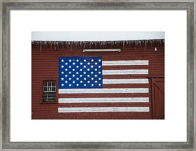 American Flag Painted On A Red Barn Framed Print