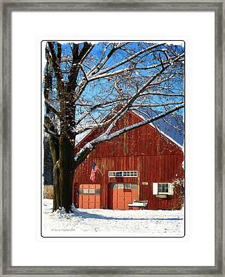 American Flag Red Barn Framed Print
