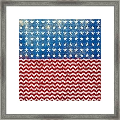 American Flag Red White Blue Framed Print by Flo Karp