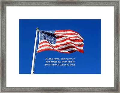 Framed Print featuring the photograph American Flag - Remember Our Fallen Heroes by Barbara West