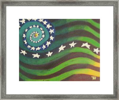 Framed Print featuring the painting American Flag Reprise by Thomasina Durkay