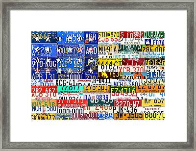 American Flag Scrap Metal Recycled License Plate Art Of The 50 States Framed Print by Design Turnpike
