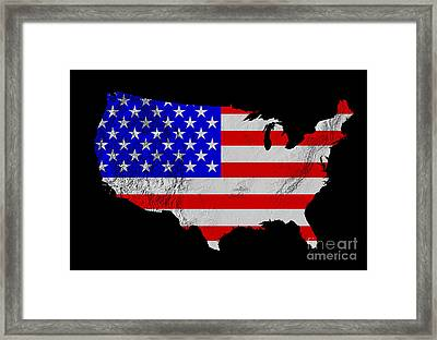 American Flag Seen On Us Shaded Digital-relief Map Framed Print