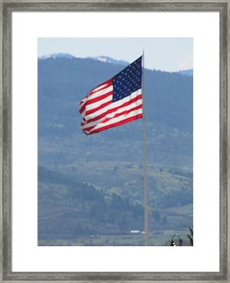 American Flag Star Valley Framed Print by Shawn Hughes