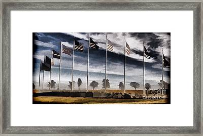 American Flag Still Standing Framed Print by Luther Fine Art