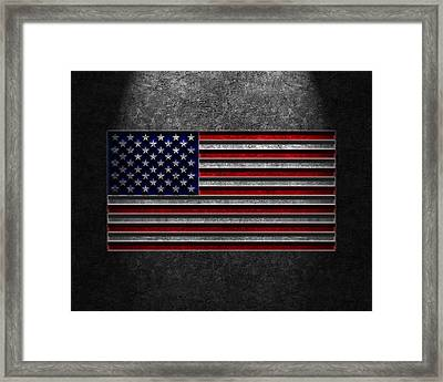 American Flag Stone Texture Framed Print