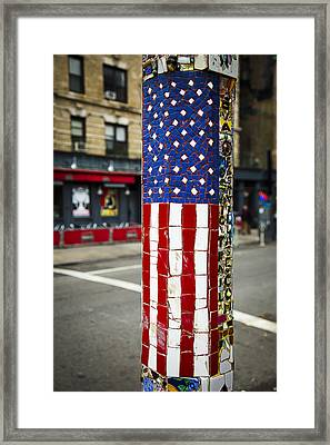 American Flag Tiles Framed Print by Garry Gay