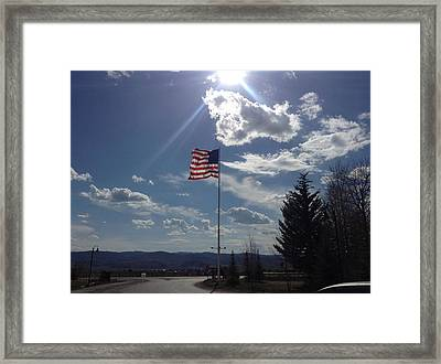 American Flag Waving In The Sunrays Framed Print by Shawn Hughes