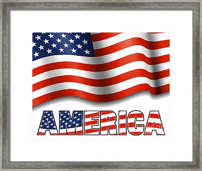 American Flag With America Framed Print