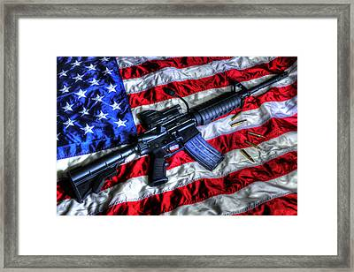 American Flag With Rifle Framed Print