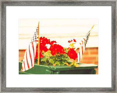 American Flags And Geraniums In A Wheelbarrow In Maine, One Framed Print