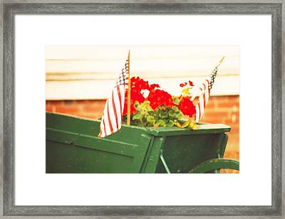 American Flags And Geraniums In A Wheelbarrow In Maine, Two Framed Print