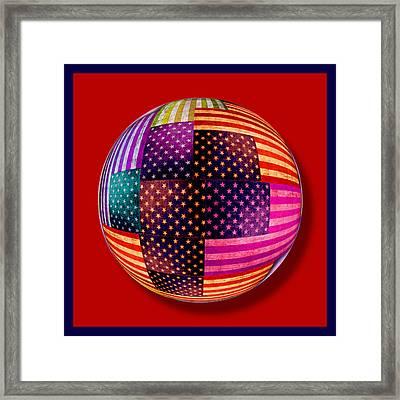 American Flags Orb Framed Print by Tony Rubino