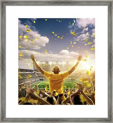 American Football Fans At Stadium Framed Print by Dmytro Aksonov