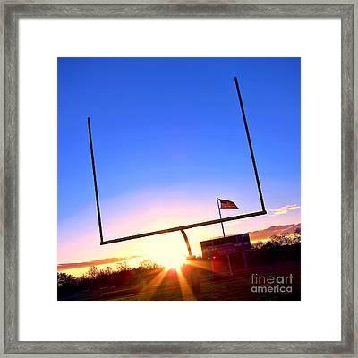 American Football Goal Posts Framed Print by Olivier Le Queinec
