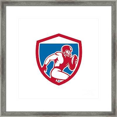 American Football Player Running Shield Retro Framed Print